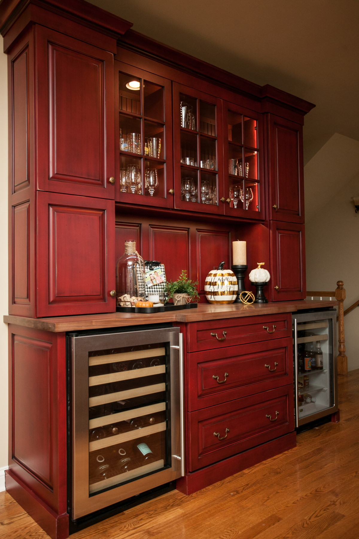 Red Kitchen Cabinets With Black Glaze Image And Shower