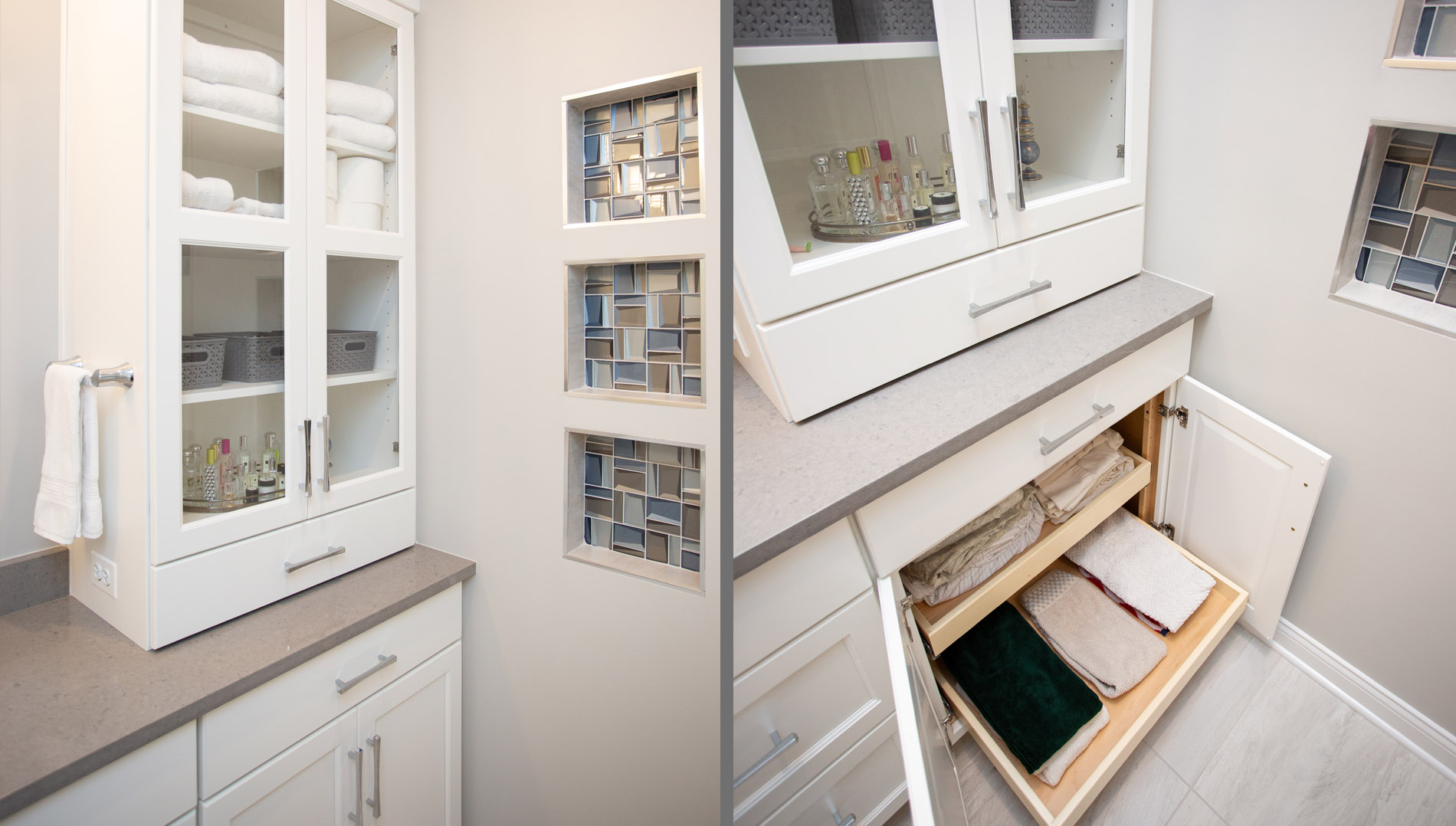 Linen storage cabinet with glass mullion doors and roll out shelves in the base cabinet.