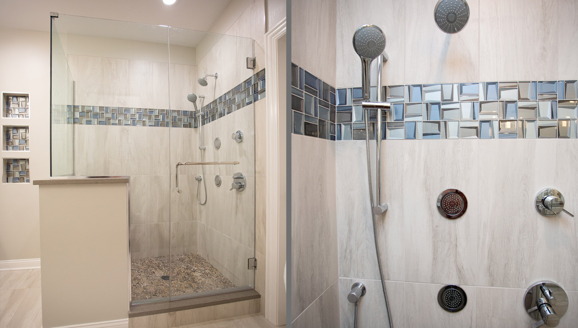 Shower interior with fixtures, water sprays and accent tile.